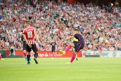 BILBAO HISZPANIA, SIERPIEŃ, - 28: Denis Suarez i Oskar De Marcos w dopasowaniu między Sportowym Bilbao Barcelona i FC, świętujący Obraz Royalty Free