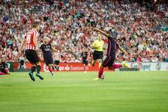 BILBAO HISZPANIA, SIERPIEŃ, - 28: Denis Suarez i Oskar De Marcos w dopasowaniu między Sportowym Bilbao Barcelona i FC, świętujący Zdjęcie Royalty Free