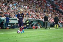 BILBAO HISZPANIA, SIERPIEŃ, - 28: Leo Messi, FC Barcelona gracz w akci podczas Hiszpańskiego Ligowego dopasowania między Sportowy Zdjęcia Stock