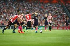 BILBAO HISZPANIA, SIERPIEŃ, - 28: Leo Messi FC Barcelona w akci podczas Hiszpańskiego Ligowego dopasowania między Sportowym Bilba Zdjęcia Royalty Free