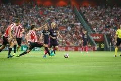 BILBAO HISZPANIA, SIERPIEŃ, - 28: Leo Messi FC Barcelona w akci podczas Hiszpańskiego Ligowego dopasowania między Sportowym Bilba Zdjęcia Stock