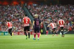 BILBAO HISZPANIA, SIERPIEŃ, - 28: Lionel Messi Boveda w dopasowaniu między, Eneko i, świętujący na Augu Obraz Royalty Free