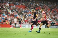 BILBAO HISZPANIA, SIERPIEŃ, - 28: Lionel Messi, FC Barcelona gracz w akci podczas Hiszpańskiego Ligowego dopasowania między Sport Zdjęcie Royalty Free