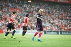 BILBAO HISZPANIA, SIERPIEŃ, - 28: Lionel Messi, FC Barcelona gracz w akci podczas Hiszpańskiego Ligowego dopasowania między Sport Zdjęcia Stock