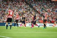 BILBAO HISZPANIA, SIERPIEŃ, - 28: Lionel Messi, FC Barcelona gracz w akci podczas Hiszpańskiego Ligowego dopasowania między Sport Fotografia Stock