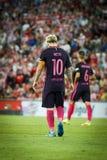 BILBAO HISZPANIA, SIERPIEŃ, - 28: Lionel Messi, FC Barcelona gracz w dopasowaniu między Sportowym Bilbao Barcelona i FC, świętuje Obrazy Stock