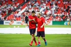 BILBAO HISZPANIA, SIERPIEŃ, - 28: Lionel Messi Suarez w ogrzewaniu dopasowanie między, Luis i, cel Zdjęcia Royalty Free