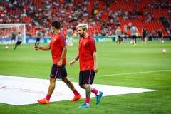 BILBAO HISZPANIA, SIERPIEŃ, - 28: Lionel Messi Suarez w ogrzewaniu dopasowanie między, Luis i, cel Fotografia Royalty Free