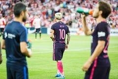 BILBAO HISZPANIA, SIERPIEŃ, - 28: Lionel Messi w dopasowaniu między Sportowym Bilbao Barcelona i FC, świętujący na Sierpień 28, 2 Zdjęcia Stock