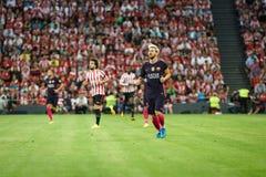 BILBAO HISZPANIA, SIERPIEŃ, - 28: Lionel Messi w dopasowaniu między Sportowym Bilbao Barcelona i FC, świętujący na Sierpień 28, 2 Fotografia Stock