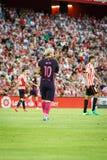 BILBAO HISZPANIA, SIERPIEŃ, - 28: Lionel Messi w dopasowaniu między Sportowym Bilbao Barcelona i FC, świętujący na Sierpień 28, 2 Obraz Stock