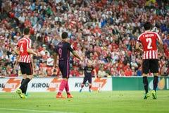 BILBAO HISZPANIA, SIERPIEŃ, - 28: Luis Suarez, FC Barcelona gracz w akci podczas Hiszpańskiego Ligowego dopasowania między Sporto Zdjęcia Stock