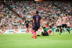 BILBAO HISZPANIA, SIERPIEŃ, - 28: Luis Suarez FC Barcelona w akci podczas Hiszpańskiego Ligowego dopasowania między Sportowym Bil Zdjęcia Stock