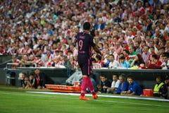 BILBAO HISZPANIA, SIERPIEŃ, - 28: Luis Suarez FC Barcelona w akci podczas Hiszpańskiego Ligowego dopasowania między Sportowym Bil Obrazy Royalty Free