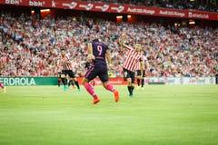 BILBAO HISZPANIA, SIERPIEŃ, - 28: Luis Suarez i Oskar De Marcos w dopasowaniu między Sportowym Bilbao Barcelona i FC, świętujący  Zdjęcia Stock