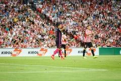 BILBAO HISZPANIA, SIERPIEŃ, - 28: Luis Suarez w dopasowaniu między Sportowym Bilbao Barcelona i FC, świętujący na Sierpień 28, 20 Obraz Stock