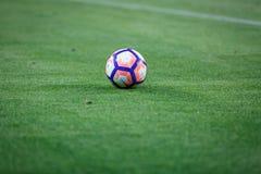 BILBAO HISZPANIA, SIERPIEŃ, - 28: Zakończenie Nike piłka podczas Hiszpańskiego Ligowego dopasowania między Sportowym Bilbao Barce Obraz Royalty Free
