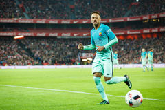 BILBAO HISZPANIA, STYCZEŃ, - 05: Neymar, Barcelona gracz w akci podczas finał filiżanki Hiszpańskiego dopasowania między Sportowy Zdjęcie Stock