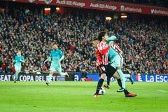 BILBAO HISZPANIA, STYCZEŃ, - 05: Neymar, otrzymywa karę w finał filiżanki Hiszpańskim dopasowaniu między Sportowym Bilbao Barc i  Zdjęcie Royalty Free