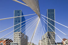 Bilbao. Isozaki towers and Calatrava footbridge. Arata Isozaki twin towers and Santiago Calatrava footbridge in Bilbao, Basque Country, Spain Stock Photography