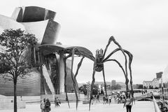 Maman at Guggenheim Museum Bilbao. BILBAO - JULY 21: Maman bronze, stainless steel, and marble sculpture by the artist Louise Bourgeois at The Guggenheim Museum Royalty Free Stock Photos