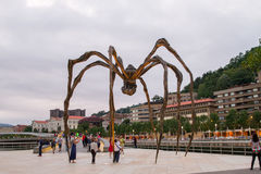 Maman at Guggenheim Museum Bilbao. BILBAO - JULY 21: Maman bronze, stainless steel, and marble sculpture by the artist Louise Bourgeois at The Guggenheim Museum Royalty Free Stock Photo