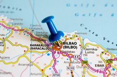 Bilbao on map. Macro shot of bilbao on map with blue push pin Royalty Free Stock Photo