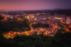 Bilbao and Maustegi village. At night stock photo