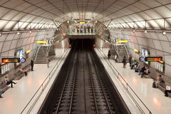 Bilbao metro station. Bilbao - April 5: Overhead view of Portugalete subway station (Bilbao Metro). Built from 1988 since today by Norman Foster. Some people are royalty free stock photos