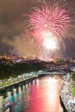 Bilbao at night. Fireworks from the annual city festivities. Landscape of the city of Bilbao at night. Fireworks from the annual city festivities stock photo