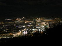 Bilbao by night. From the mountain view Royalty Free Stock Photos
