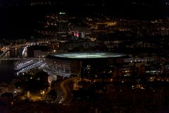 Bilbao night view from Covetas Mount Pais Basque Spain royalty free stock photo