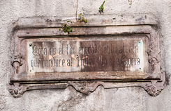 Bilbao, province of Biscay, Basque Country, Spain, Iberian Peninsula, Europe. Bilbao, Spain, 25/01/2017: the inscription on the former cemetery of Bilbao on the Royalty Free Stock Photo