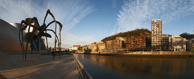 Bilbao, province of Biscay, Basque Country, Spain, Iberian Peninsula, Europe. Spain, 25/01/2017: the Nervion River and the skyline of Bilbao with view of the Royalty Free Stock Photography