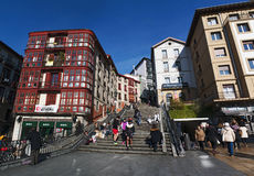 Bilbao, province of Biscay, Basque Country, Spain, Iberian Peninsula, Europe. Bilbao, Basque Country, 25/01/2017: view of Calzadas de Mallona, the staircase Royalty Free Stock Photography