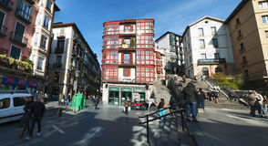 Bilbao, province of Biscay, Basque Country, Spain, Iberian Peninsula, Europe. Bilbao, Basque Country, 25/01/2017: view of Calzadas de Mallona, the staircase Royalty Free Stock Image