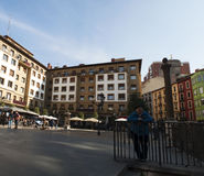 Bilbao, province of Biscay, Basque Country, Spain, Iberian Peninsula, Europe. Basque Country, 25/01/2017: view of the palaces and buildings in Plaza Unamuno Stock Photos