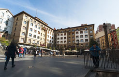 Bilbao, province of Biscay, Basque Country, Spain, Iberian Peninsula, Europe. Basque Country, 25/01/2017: view of the palaces and buildings in Plaza Unamuno Stock Image