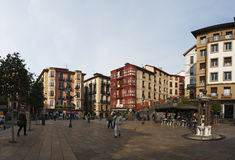 Bilbao, province of Biscay, Basque Country, Spain, Iberian Peninsula, Europe. Basque Country, 25/01/2017: view of the palaces and buildings in Plaza Unamuno Royalty Free Stock Photography
