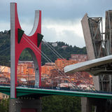 Bilbao - Puente de la Salve - Spain. The seaport of Bilbao in the province of Biscay in northern Spain. View of the Puente de la Salve (Bridge) near the Royalty Free Stock Photos