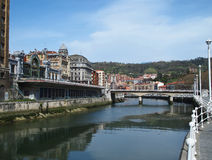 Bilbao, Puente del Arenal, Spain. Bilbao from the Ribera in front of Puente del Arenal Stock Photography
