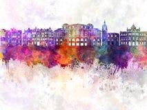 Bilbao skyline in watercolor Stock Images