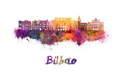 Bilbao skyline in watercolor Royalty Free Stock Photography