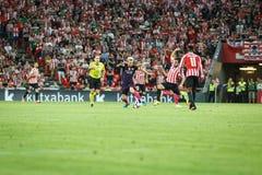 BILBAO, SPAGNA - 28 AGOSTO: Leo Messi, Benat Etxebarria e Inaki Williams durante la partita di lega spagnola fra l'Athletic Bilba Fotografia Stock