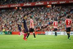 BILBAO, SPAGNA - 28 AGOSTO: Luis Suarez, giocatore del FC Barcelona, nell'azione durante la partita di lega spagnola fra l'Athlet Immagine Stock Libera da Diritti