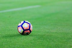 BILBAO, SPAGNA - 28 AGOSTO: Primo piano della palla di Nike durante la partita di lega spagnola fra l'Athletic Bilbao ed il FC Ba Fotografia Stock
