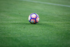 BILBAO, SPAGNA - 28 AGOSTO: Primo piano della palla di Nike durante la partita di lega spagnola fra l'Athletic Bilbao ed il FC Ba Immagine Stock Libera da Diritti