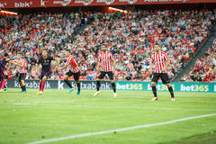 BILBAO, SPAGNA - 28 AGOSTO: Raul Garcia, Aritz Aduriz, Mikel Vesga e Sergio Busquets durante la partita fra l'Athletic Bilbao e Immagini Stock