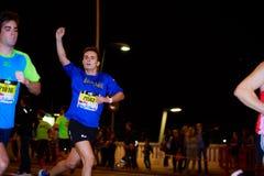 BILBAO, SPAGNA - 22 OTTOBRE: Corridore non identificato con l'inabilità nella notte maratona di Bilbao, celebrata a Bilbao il 2 o Fotografie Stock Libere da Diritti