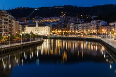 Aerial view of night Bilbao Royalty Free Stock Photography